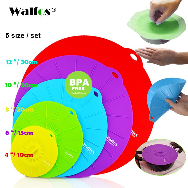 WALFOS Ensemble de 5 silicone Micro-ondes bol couvercle marmite pan couvercle Cover-Silicone alimentaire wrap cuisson outils cuisine ustensile