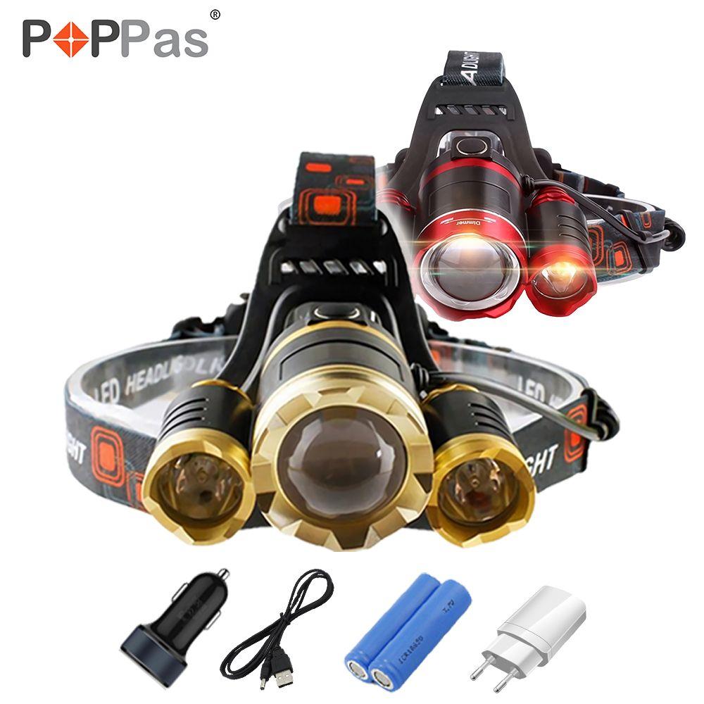 Poppas светодиодные фары 10000LM CREE 3T6 чипов фар Перезаряжаемые увеличить головного света фонарик Охота 18650 Батарея Зарядное устройство
