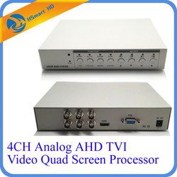 HD 1080 P 4CH CCTV TVI AHD Analog Multiplexer Video Quad Layar prosesor HDMI VGA Monitor Output 2 BNC Analog CVBS Video Output