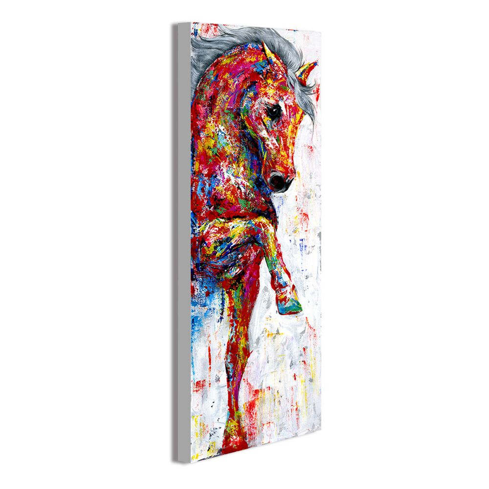 HDARTISAN Wall Art Painting Canvas Picture Animal Print Walking Horse For Living Room Home Decor No Frame