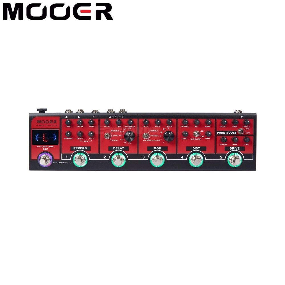 MOOER Red Truck Effect Pedal Modulation Delay Reverb Distortion Overdrive Boost Modules Built-in Tuner Tap Tempo