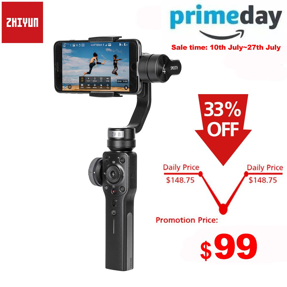 Zhiyun stabilisateur de cardan pour Smartphone à 3 axes lisse 4 Q pour iPhone XS XR X 8Plus 8 7P 7 Samsung S9 S8 S7 et caméra d'action