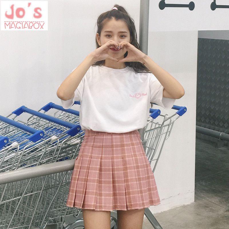 2017 New Spring high waist ball pleated Plaid a-line sailor skirts Harajuku Tutu skirt Large Size <font><b>Japanese</b></font> school uniform