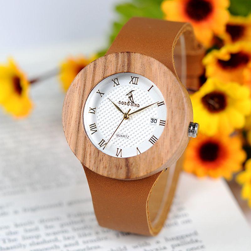 BOBO OISEAU montres femmes montre femme Quartz En Bois Métal reloj homwith lanières en cuir Calendrier Dames Montre-Bracelet logo personnalisé