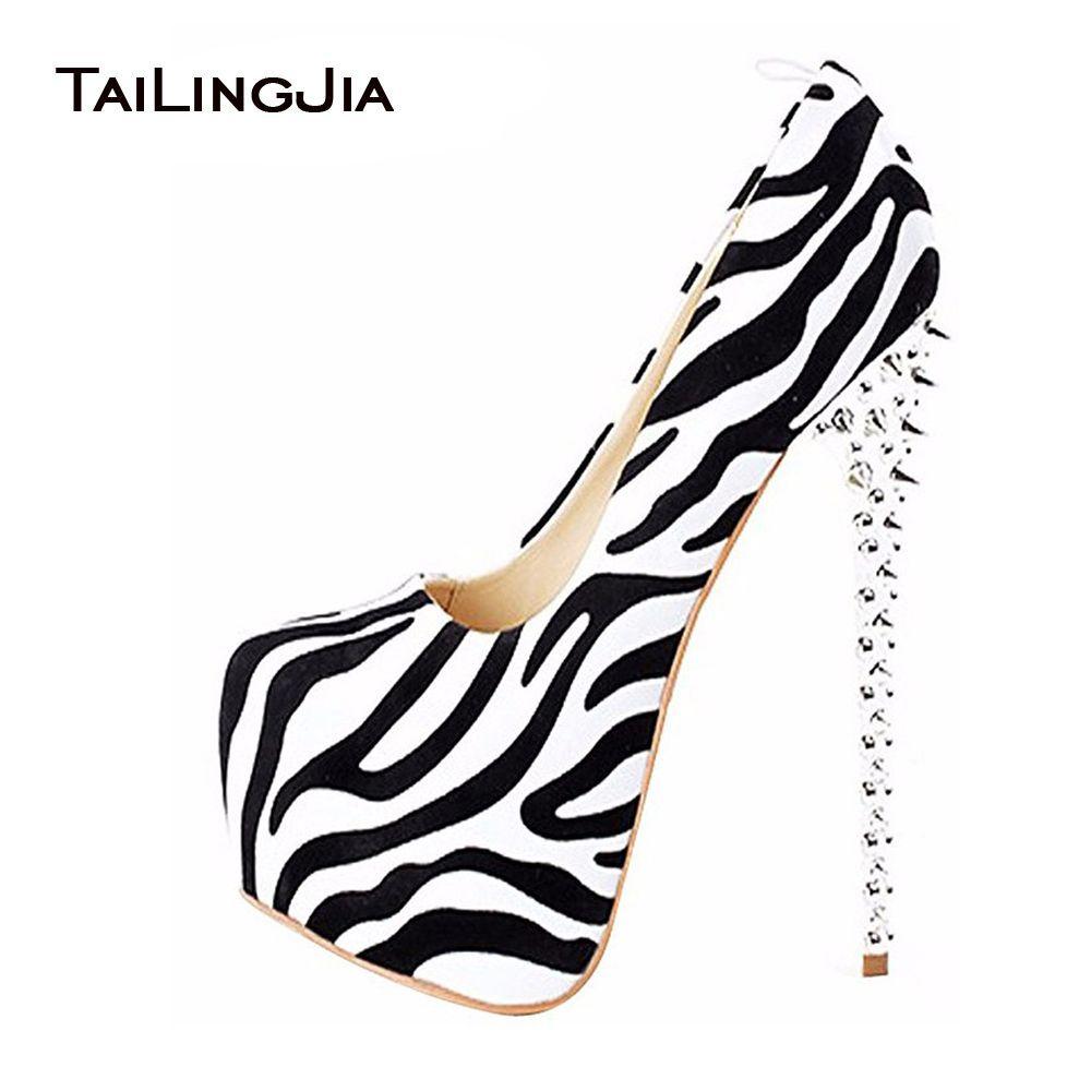 2017 femme Sexy léopard zèbre talons hauts pointes plate-forme sans lacet bout rond pompes extrêmement haut talon mignon pôle danse chaussures