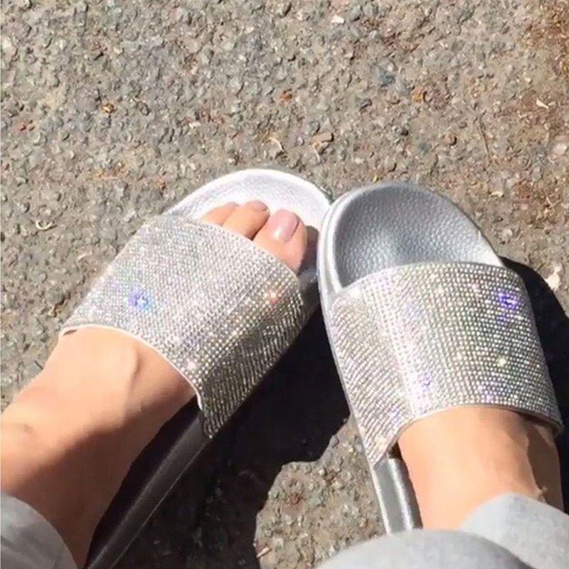 Rhinestone Women Slippers Flip Flops Summer Women Crystal Diamond <font><b>Bling</b></font> Beach Slides Sandals Casual Shoes Slip On Slipper