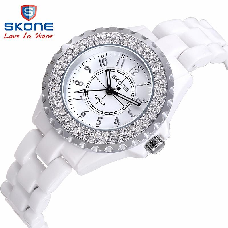 Ceramic watch Fashion Casual Women quartz watches <font><b>relojes</b></font> mujer SKONE brand luxury wristwatches Girl elegant Dress clock 7242GB