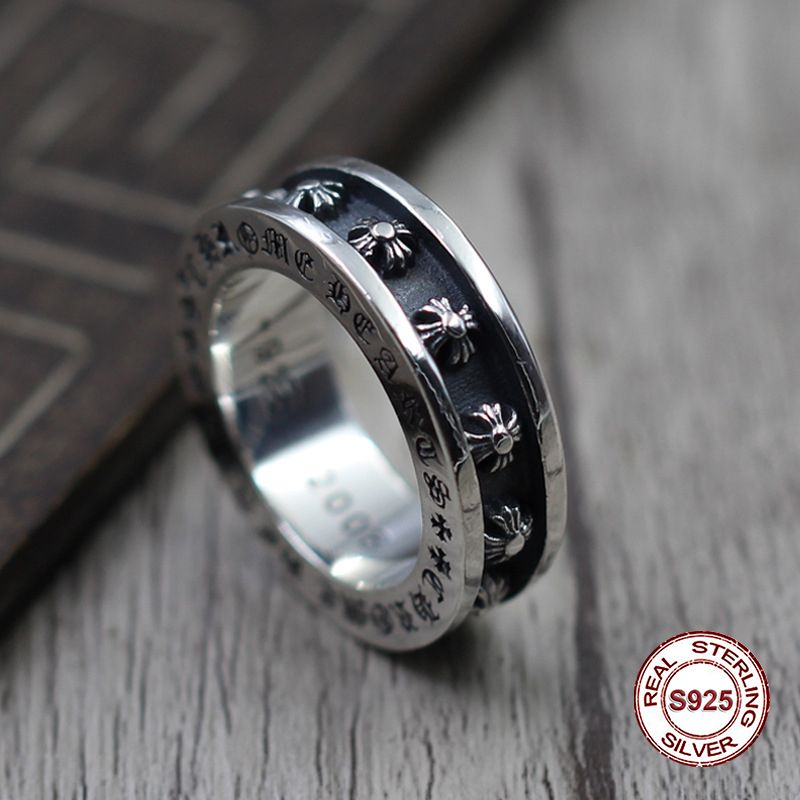 S925 pure silver men's ring individuality Restoring ancient ways punk style Groove cross thickening popular classic ring Gift