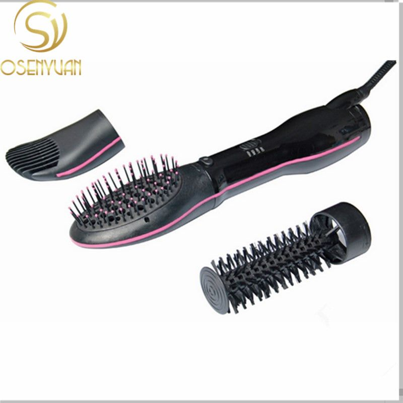 LESCOLTON Original 3 in 1 Interchangeable Dryer Styler Hair Straightener and Curler Styling Brush Smooth Comb