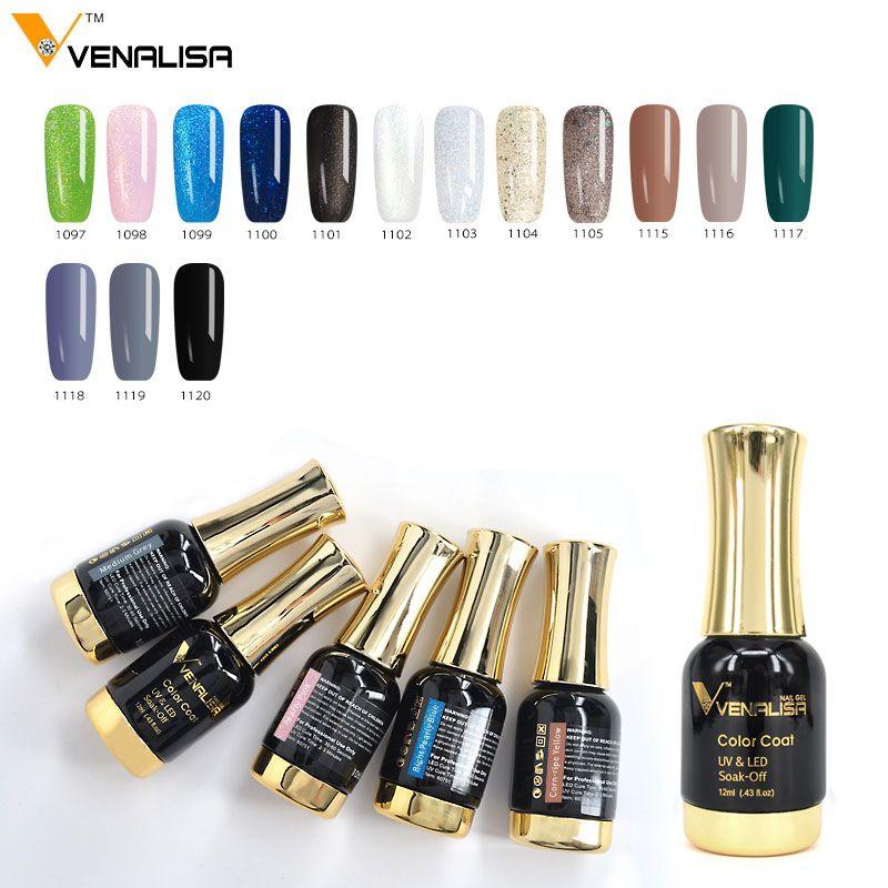 12 ml VENALISA Glitter Couleur Gel Polish Soak Off UV/LED Gel Bling Diamant Nail Gel Amorce Aucun Acide top Coat Meilleur Gel Vernis À Ongles