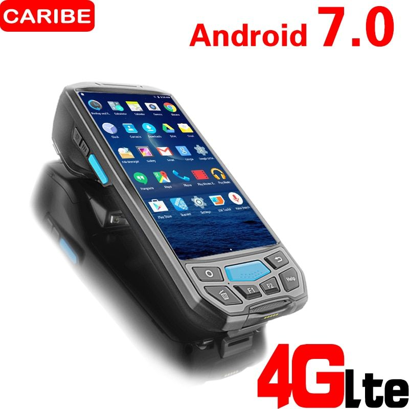 Caribe PL-50L Handheld portable wireless android pda 2d scanner data collector with 4g calling wifi uhf rfid optional printer