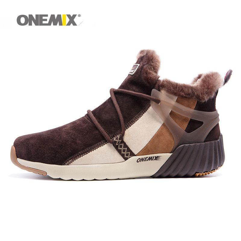 ONEMIX Nouvelle Hiver Hommes Bottes de Laine Chaude Sneakers En Plein Air Unisexe de Sport Sport Chaussures de Course Confortable Chaussures Vente Taille EU36-45