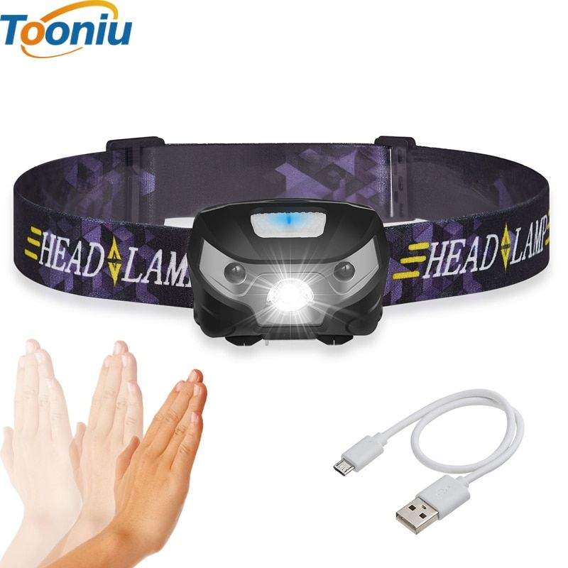 3000LM Mini Rechargeable LED HeadLamp Body Motion Sensor LED Bicycle Head Light <font><b>Lamp</b></font> Outdoor Camping Flashlight With USB