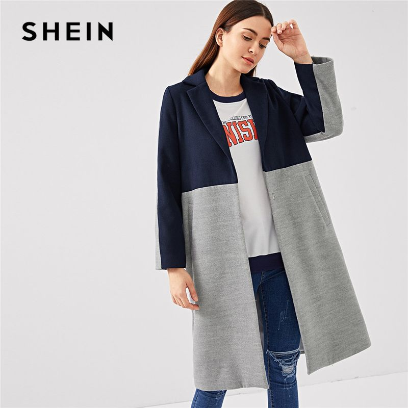 SHEIN Multicolor Highstreet Office Lady Cut And Sew Pocket Side Single Breasted Coat 2018 Autumn Elegant Women Coat And Outwear