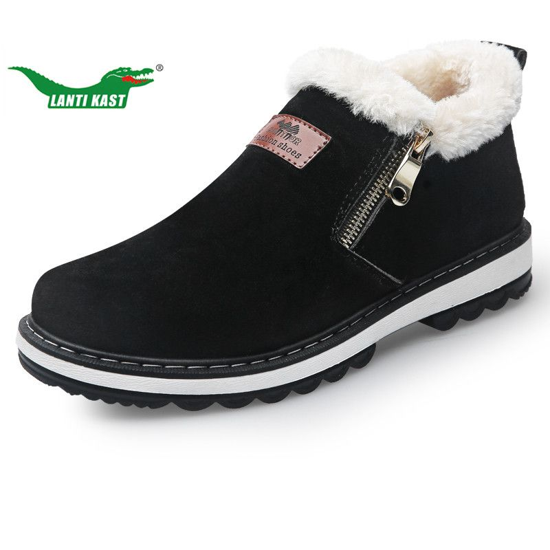 LANTI KAST Winter Plush Warm Snow Boots Men Walking Sneakers Rubber Sole Non-slip Snow Shoes Handmade High Quality Outdoor Shoes