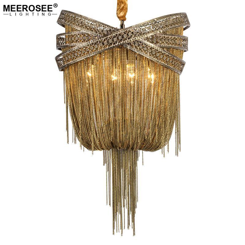 Bronze Aluminum Chandelier Light Italian Tassel Design Chain Lustres Lamp Hanging Lighting for Living room Foyer