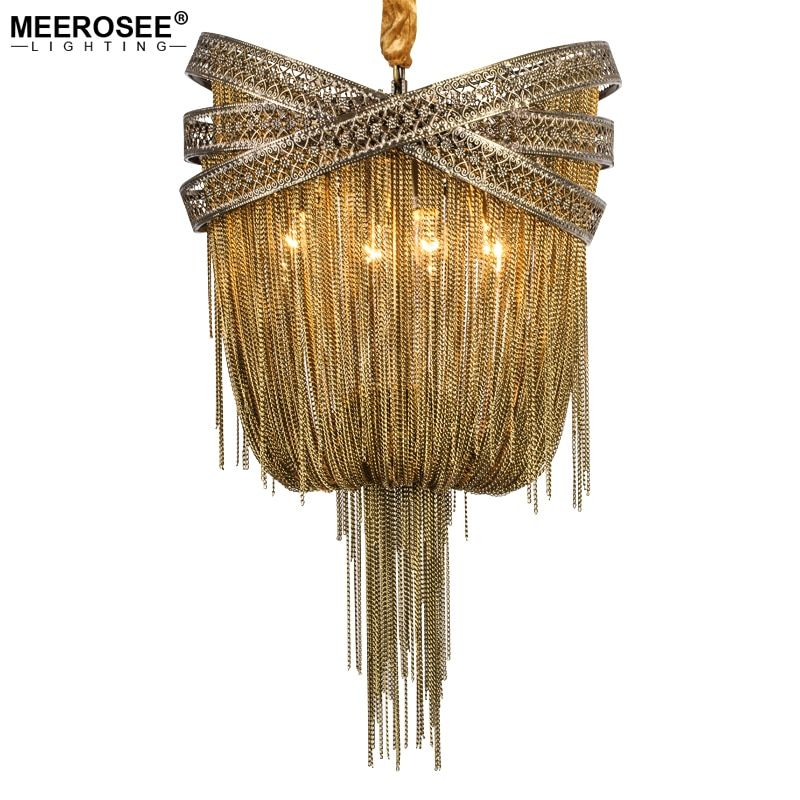 Bronze Aluminum Chandelier Light Italian Tassel Design Chain Lustres Lamp Hanging Lighting for Living room Foyer