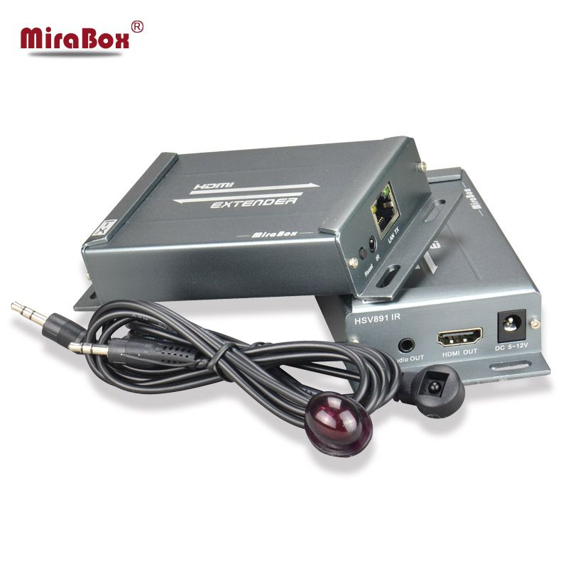 MiraBox HDMI Extender with IR Remote over ethernet TCP IP by 150m RJ45 Cat5 Cat5e Cat6 HDMI Splitter IR Passback Extender
