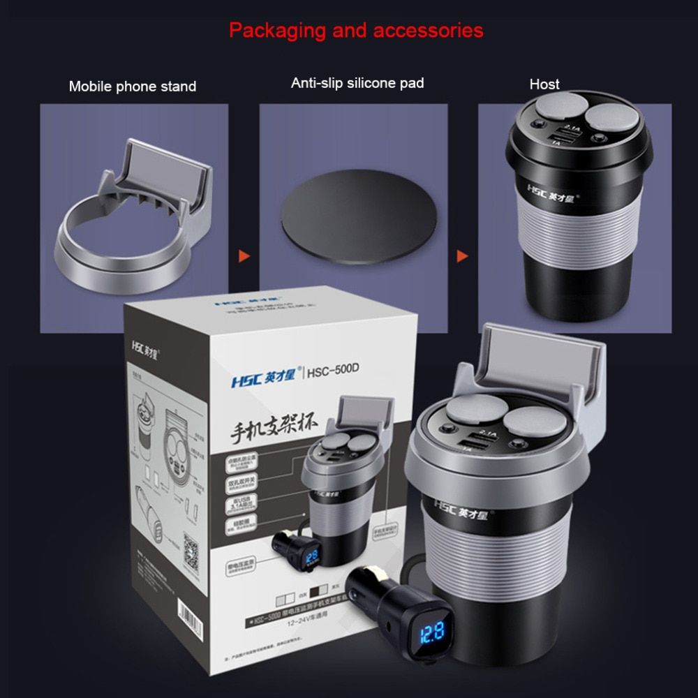 Полезные чашки автомобиль Зарядное устройство Многофункциональный Дисплей двойной USB Автомобильное Зарядное устройство 12-24 В Авто-прикури...