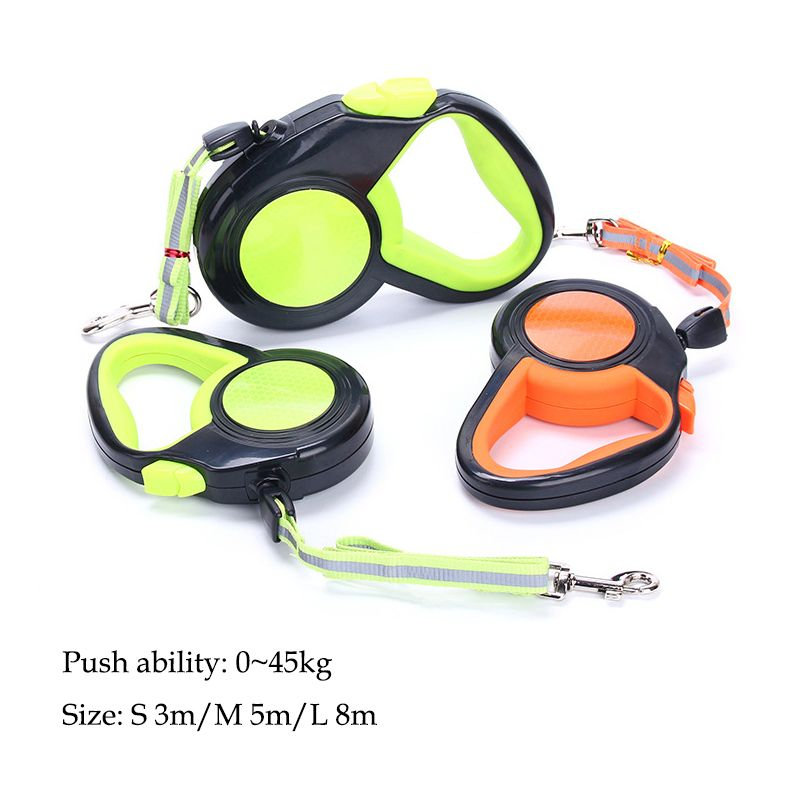 A Roulette For Retractable Dogs Leashes 3M/5M/8M Reflective Cats Collar Puppy Nylon Traction Small Medium Large Dogs Accessories