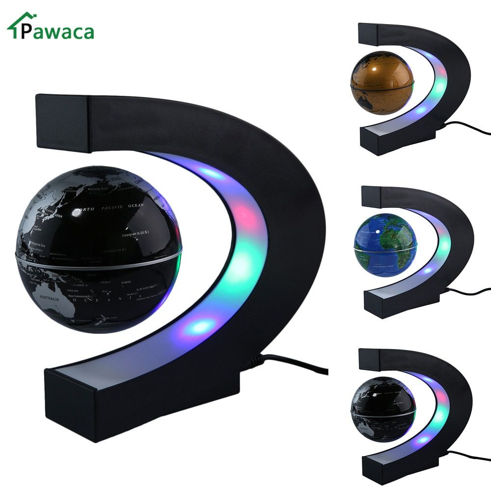 US/EU/UK Plug Home Office Decoration LED Floating Tellurion Globe C Shape Magnetic Levitation Light World Map With LED Tellurion
