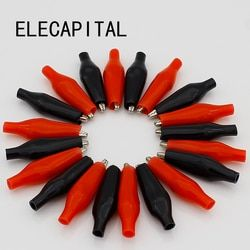 20pcs/lot 28MM Metal Alligator Clip G98 Crocodile Electrical Clamp for Testing Probe Meter Black and Red with Plastic Boot