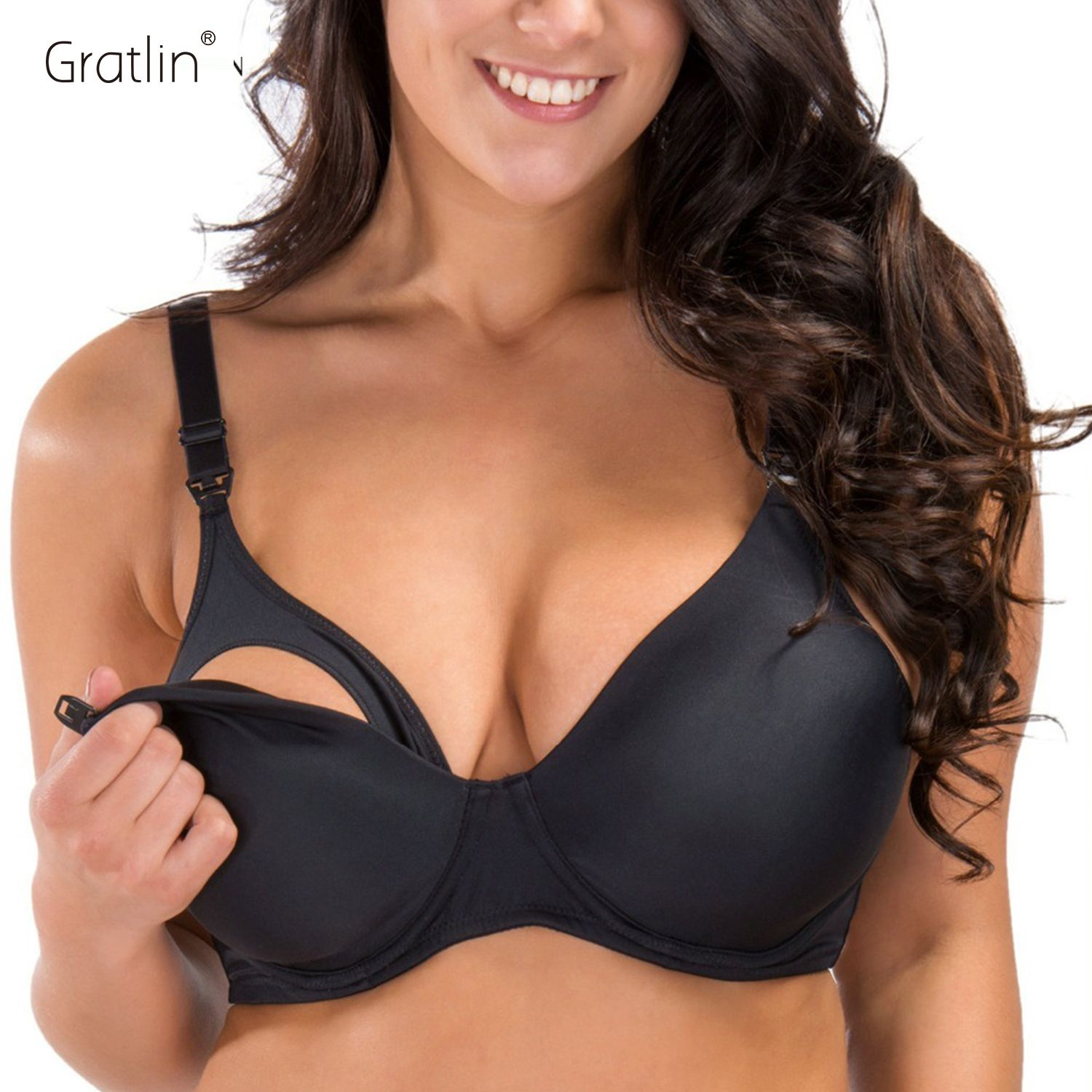 Breastfeeding <font><b>Padded</b></font> Underwire Nursing Bra with Full Sling 32-40 B C D DD