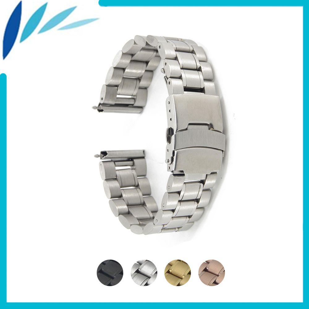 Bracelet de montre en acier inoxydable 18mm 20mm 22mm 24mm pour Breitling sécurité fermoir sangle boucle ceinture Bracelet noir Rose or argent + outil