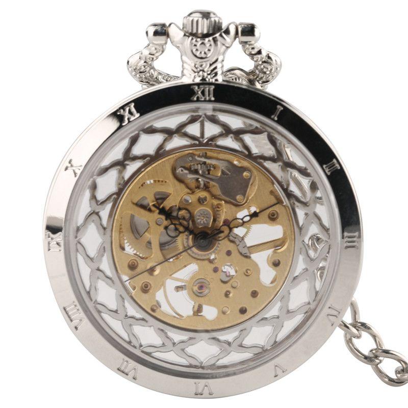 Silber Hohl Skeleton Männer Frauen Mechanische Taschenuhr Handaufzug Mode Retro Uhr mit Hoher Qualität Anhänger Kette