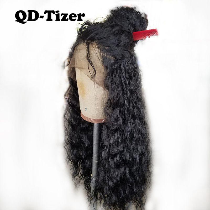 КТ-тизер плотность 180% черный распущенные волосы химическое Кружево Искусственные парики Длинные свободные фигурные синтетический Синтети...