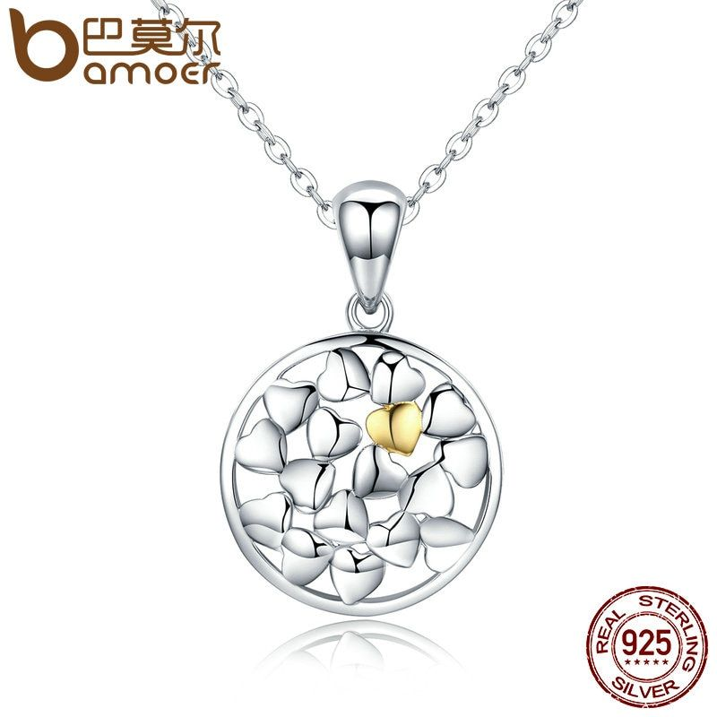 BAMOER Genuine 925 Sterling Silver Forever Love Openwork Heart Shape Pendant Necklaces for Women Luxury Jewelry Gift SCN097