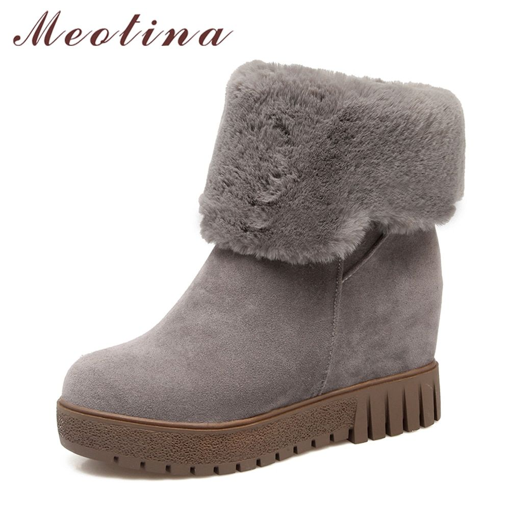 Meotina Winter Women Shoes Fur Platform Wedge Heel Snow Boots Hidden Heels Ankle Boots Ladies Short Boots Big Size 33-43 White
