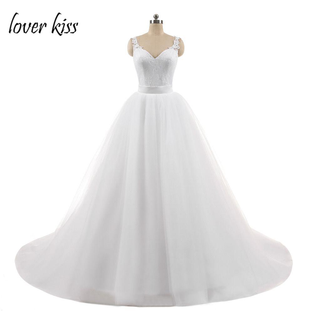 Amante beso sexy dos en uno vestido de novia 2 unidades sin mangas Encaje bola vestidos de novia desmontable tren imagen real vestido de Noiva