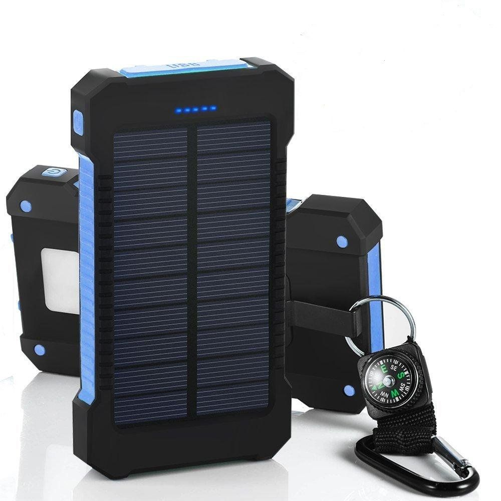 Solar Power Bank 10000mah Dual USB Li-Polymer Solar Battery Charger Travel Powerbank With a <font><b>compass</b></font> retail package