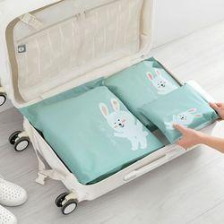 6 unids/set viaje creativo diversos bolsas de almacenamiento de dibujos animados patrón práctico Correa impermeable bolsas de almacenamiento de ropa