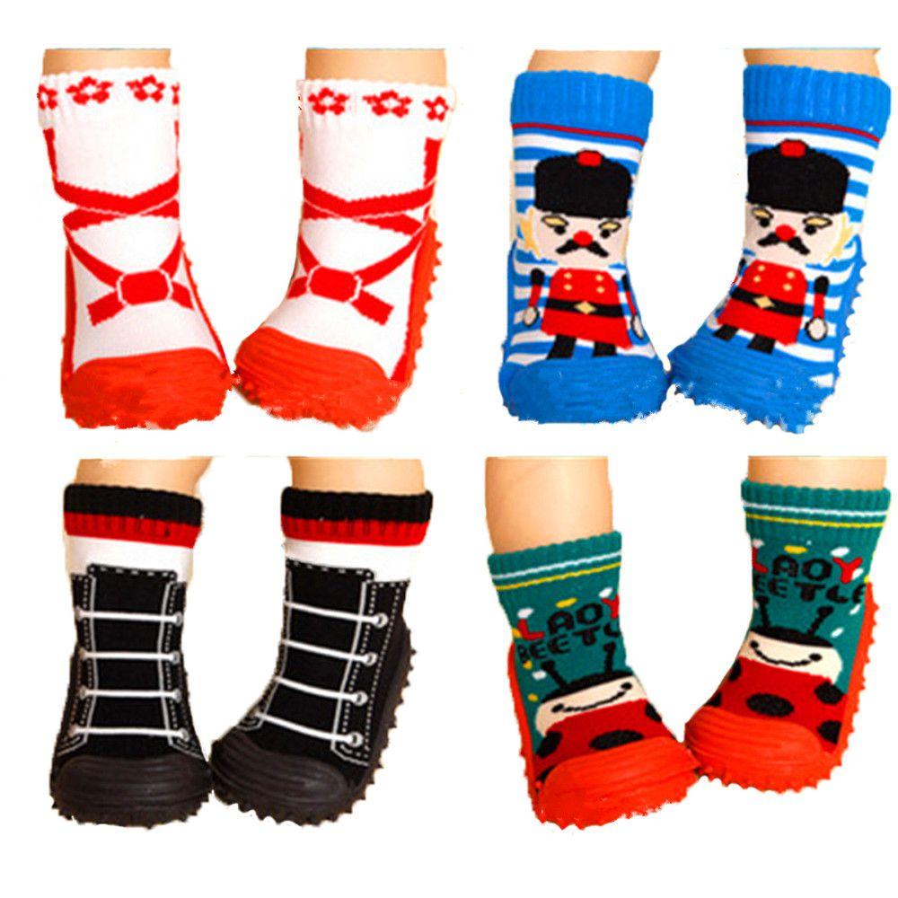 Хлопок Детские Носки новорожденных осень-зима Нескользящие Детские носки с резиновой подошвой малышей Крытый обувь для помещения детские ...