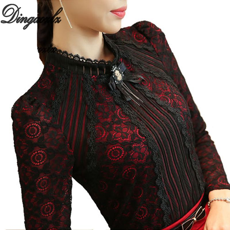 Dingaozlz Royal élégant femmes chemise 2018 printemps mode dames dentelle blouse grande taille femme couverture en dentelle nouvelle marque femmes vêtements