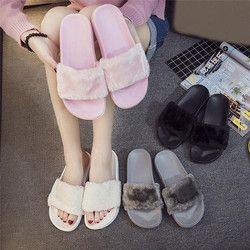 2018 Baru Kasual Sandal Flip Flop Sandal Wanita Sandal Zapatos Mujer Wanita Slip Pada Slider Bulu Imitasi Berbulu Datar Ukuran 36 ~ 41