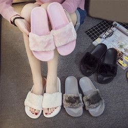 2019 Baru Kasual Sandal Flip Flop Sandal Wanita Sandal Zapatos Mujer Wanita Slip Pada Slider Bulu Imitasi Berbulu Datar Ukuran 36 ~ 41