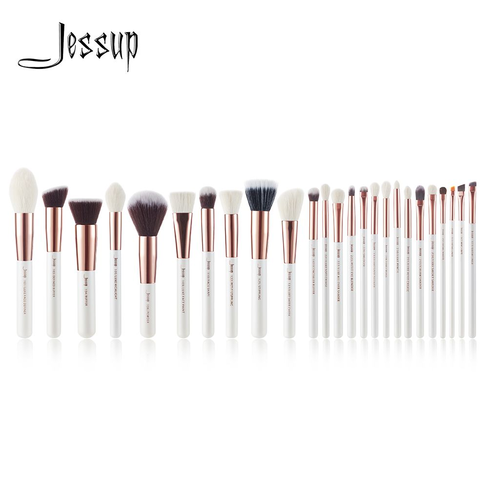 Jessup Pearl White/<font><b>Rose</b></font> Gold Professional Makeup Brushes brushes Make up Brush Tools kit Foundation set Powder Blushes Beauty