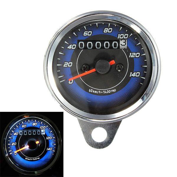 Universal Motorcycle LED Odometer Speedometer Meter Dual Gauge Counter 0-140Km/h