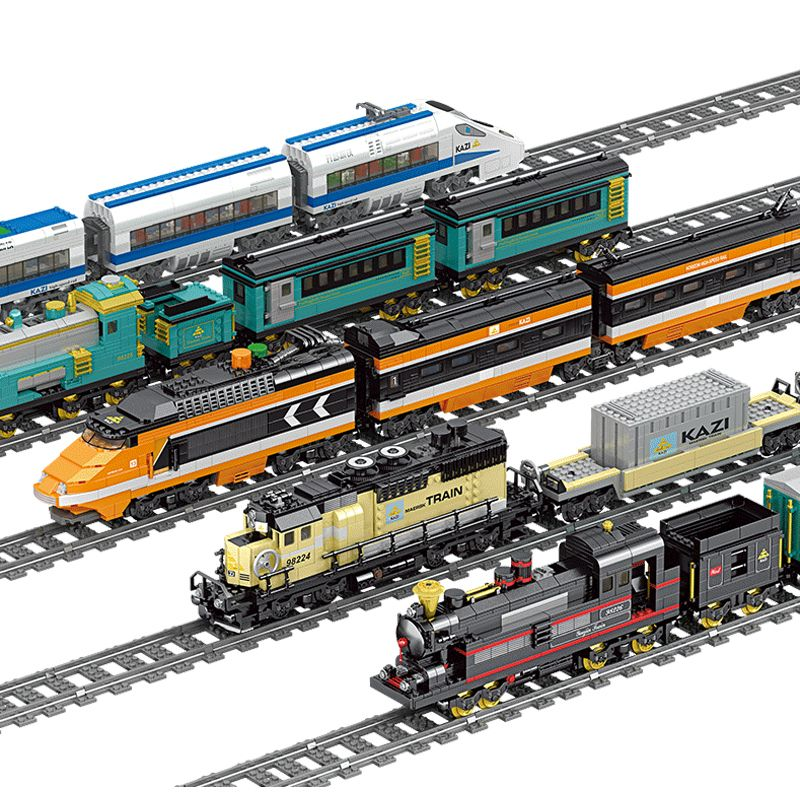 KAZI Technic Battery Powered Electric Classic City Train Rail Building Blocks Bricks Gift Toys For Children Boys Girls