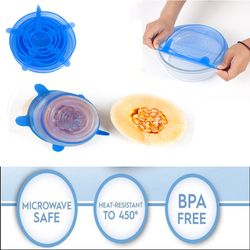 6Pcs/ Set Universal Silicone Stretch Lids Vacuum Seal Suction Cover Sealer Bowl Pot Silicone Cover kitchen cookwar accessories