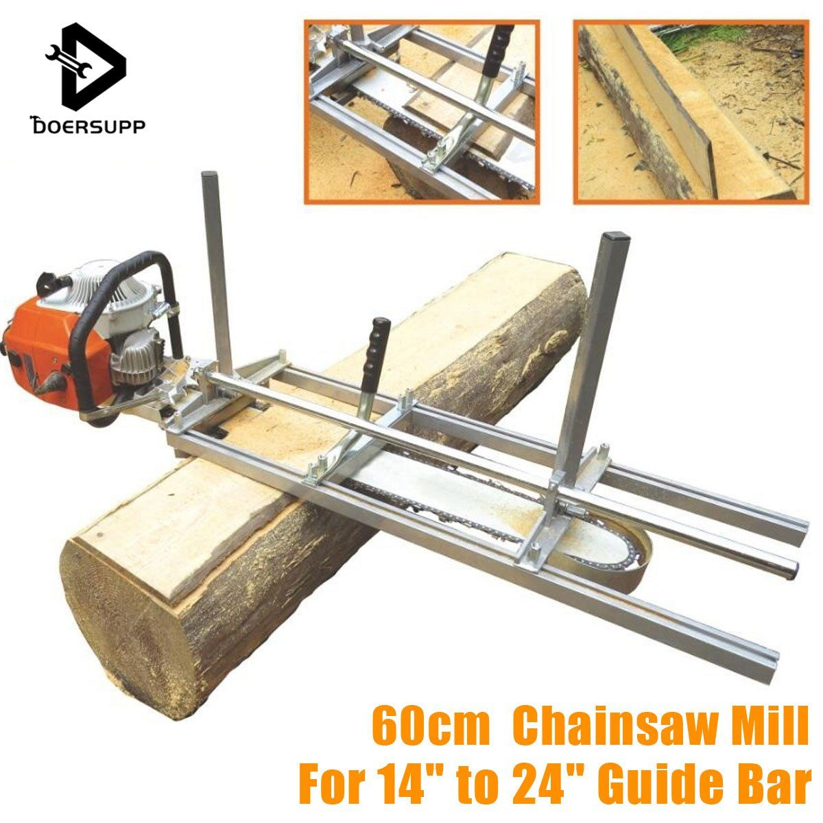 Doersupp 60cm Portable Chainsaw Mill Planking Milling From 14'' to 24'' Guide Bar Planking Lumber Cutting Tool