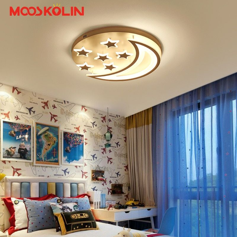 New Acrylic LED Ceiling Lights moon star shape for boy girl bedroom remote lights ceiling Decorative lampshade Lamparas de techo