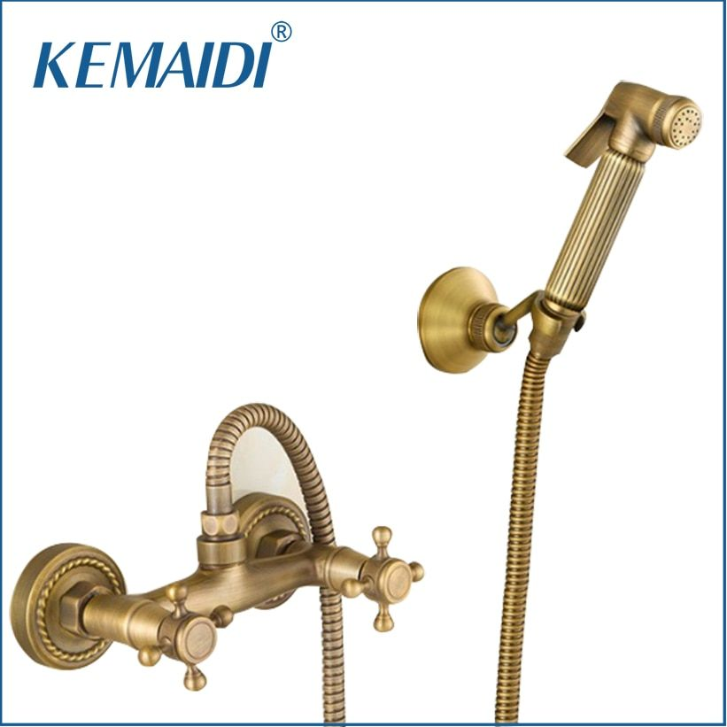 KEMAIDI Antique Brass Special New Bathroom Bidet Faucet Toilet Torneira Hand Spray Wall Mounted Bathroom Mixer Tap Sets