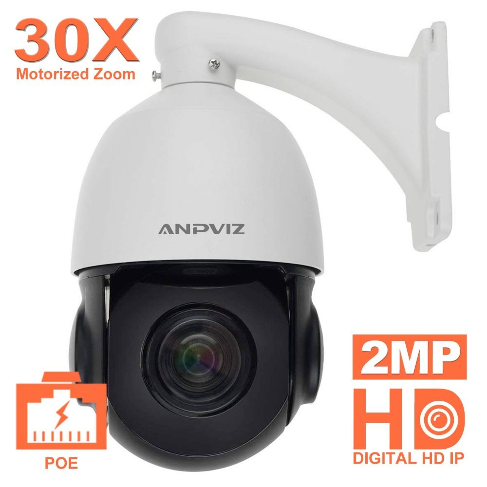 Anpviz 1080P POE PTZ IP Dome Camera Outdoor ONVIF 30X ZOOM Waterproof Speed Dome Camera 2MP, HIKVISION Private Procotol
