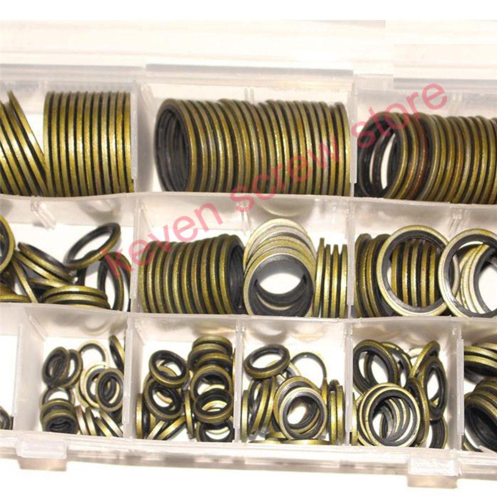 100pcs/ 240pcs m6 m8 m10 m12 m14 m16 High Press Hydralic Rubber Oil Pipe Seal Gasket NBR Metal Seal Ring Assortment Kits