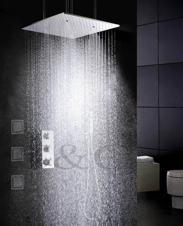 Zerstäubung Und Regen Thermostat Bad Dusche Wasserhahn Set 20 Zoll Zwei Funktionen Duschkopf Und Massage Spray