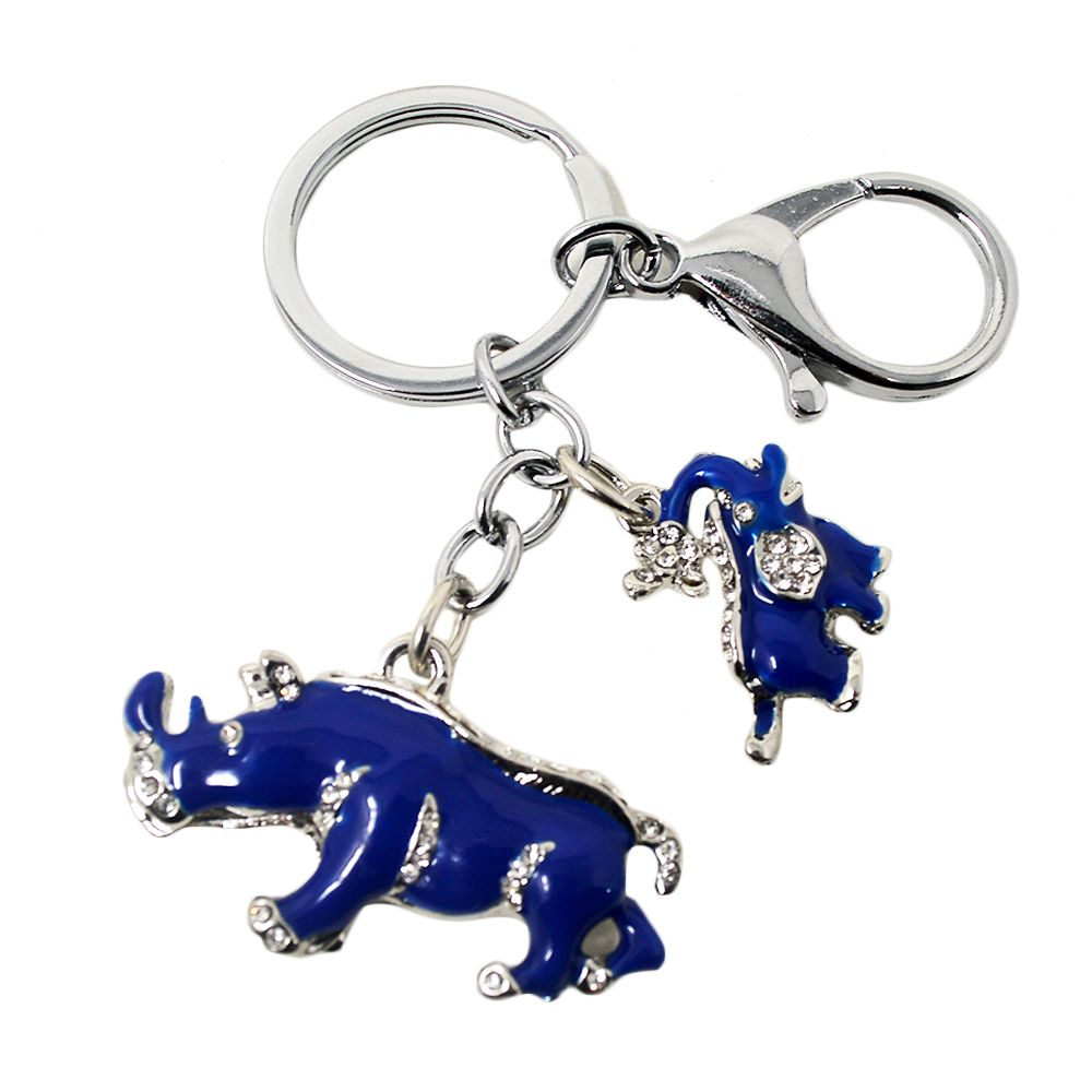 New Arrival Alloy Rhinestone Keychain Blue Elephant Rhinoceros Protection Key Chains W1041